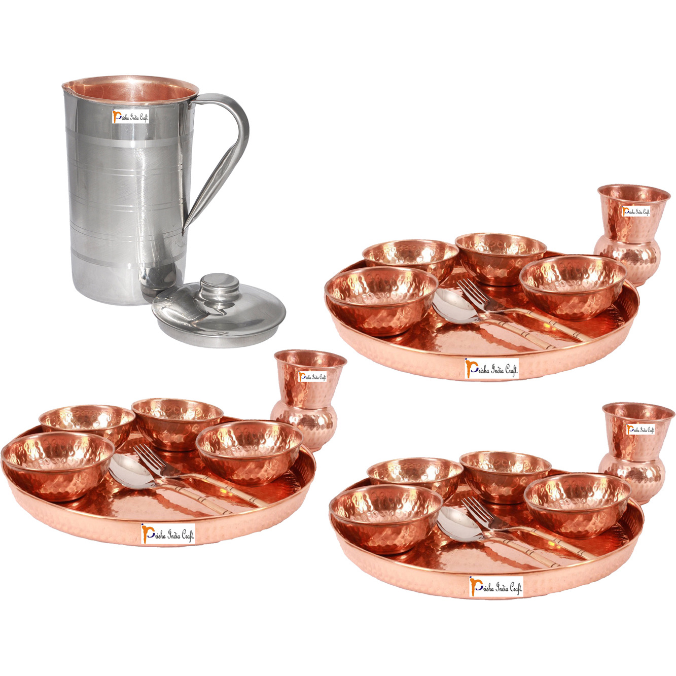 Prisha India Craft B. Set of 3 Dinnerware Traditional 100% Pure Copper Dinner Set of Thali Plate, Bowls, Glass and Spoon, Dia 12  With 1 Luxury Style Pitcher Jug - Christmas Gift