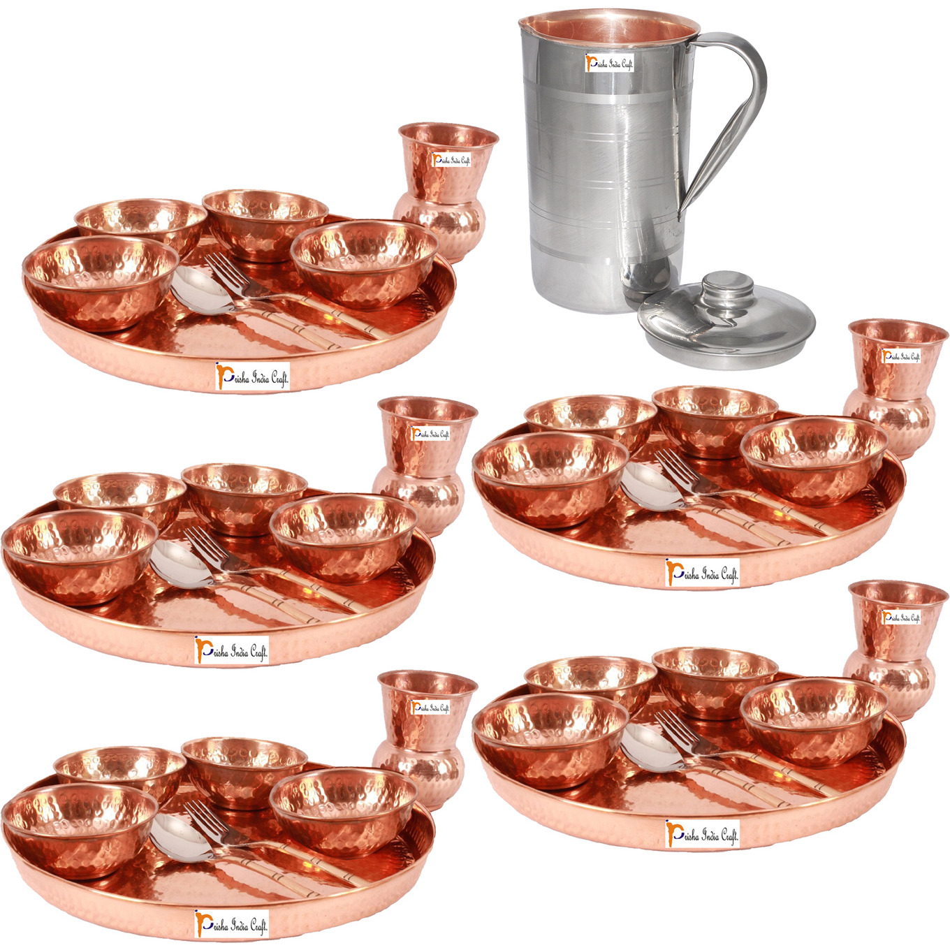 Prisha India Craft B. Set of 5 Dinnerware Traditional 100% Pure Copper Dinner Set of Thali Plate, Bowls, Glass and Spoon, Dia 12  With 1 Luxury Style Pitcher Jug - Christmas Gift