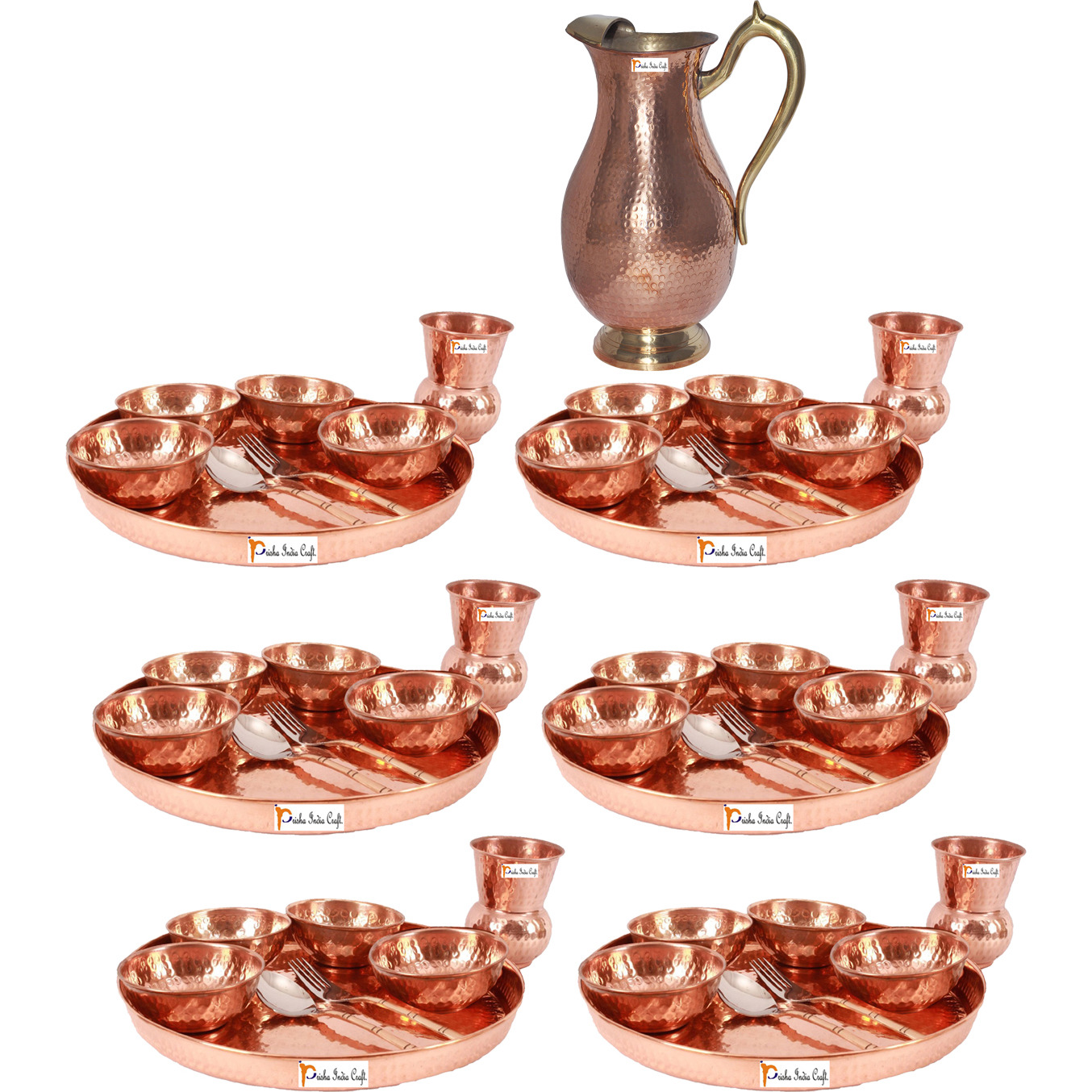 Prisha India Craft B. Set of 6 Dinnerware Traditional 100% Pure Copper Dinner Set of Thali Plate, Bowls, Glass and Spoon, Dia 12  With 1 Pure Copper Mughal Pitcher Jug - Christmas Gift