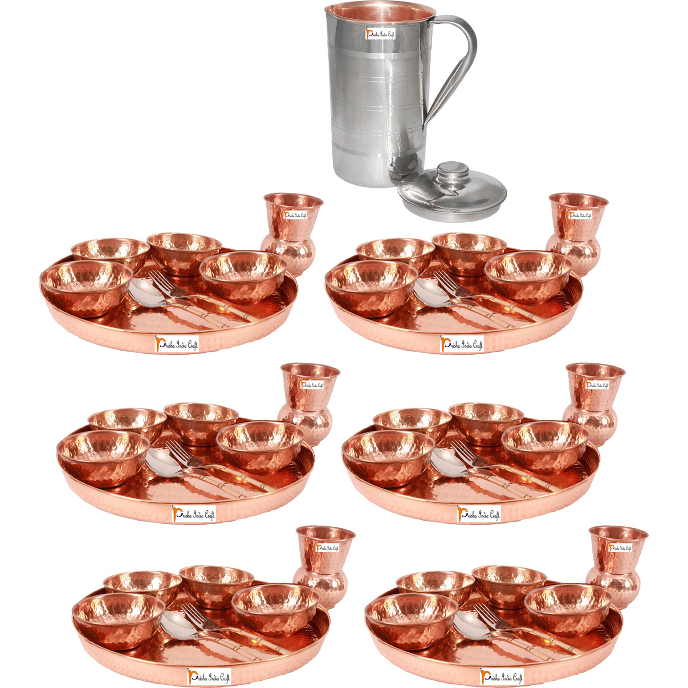 Prisha India Craft B. Set of 6 Dinnerware Traditional 100% Pure Copper Dinner Set of Thali Plate, Bowls, Glass and Spoon, Dia 12  With 1 Luxury Style Pitcher Jug - Christmas Gift