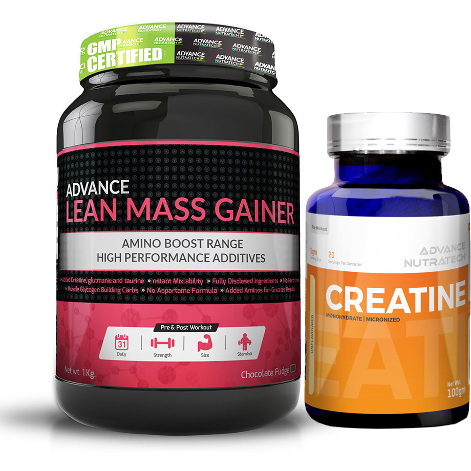 Advance Nutratech Lean Mass Gainer 1Kg (2.2Lbs) Chocolate + Creatine Monohydrate unflavored 100 gm