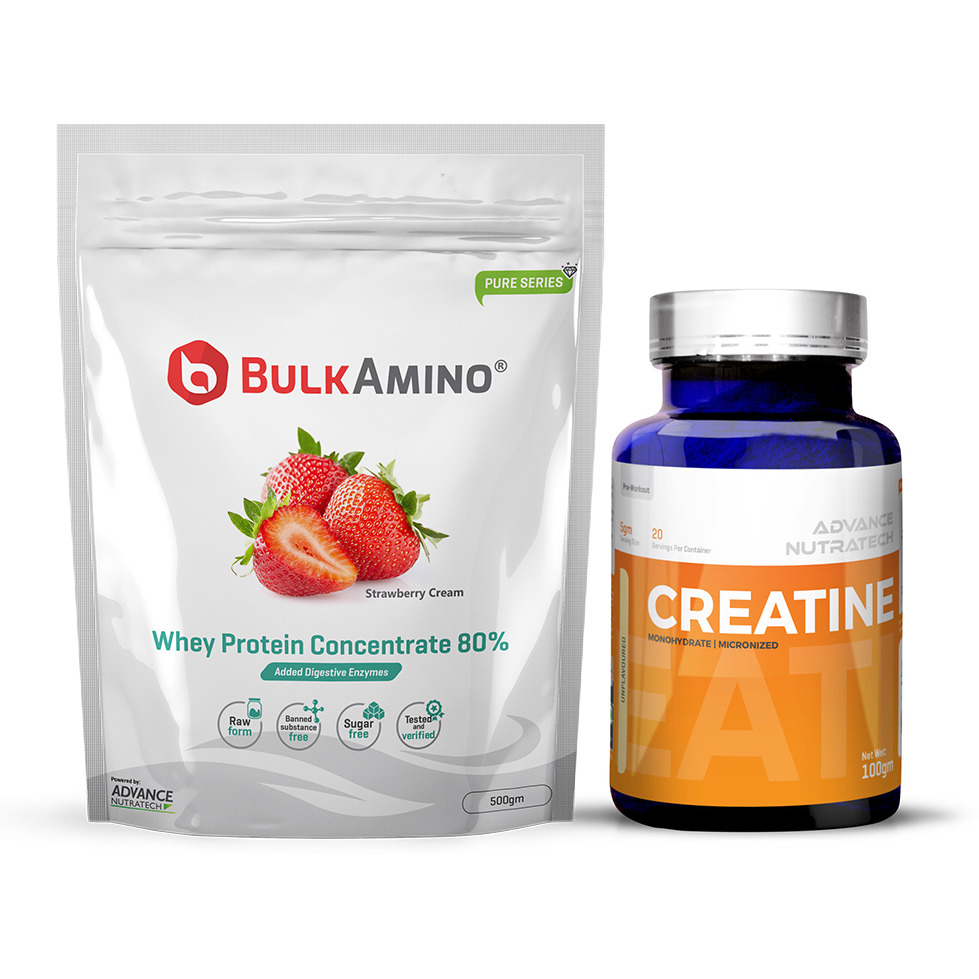 Advance Nutratech Bulkamino Whey Protein Concentrate 80 % Raw Protein 500gm Strawberry Supplement Powder&Creatine Monohydrate unflavored 100g