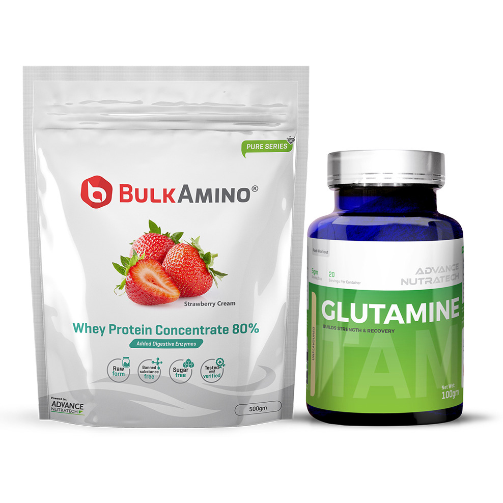 Advance Nutratech Bulkamino Whey Protein Concentrate 80 % Raw Protein 500gm Strawberry Supplement Powder&Glutamine supplement powder 100gm unflavored