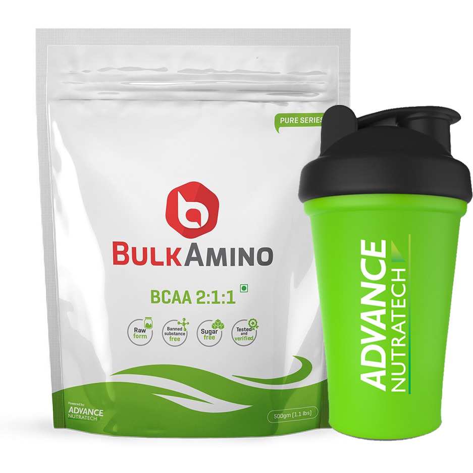 Advance Nutratech Bulkamino BCAA 2:1:1 500gram(1.1Lbs) supplement powder With Free Shaker