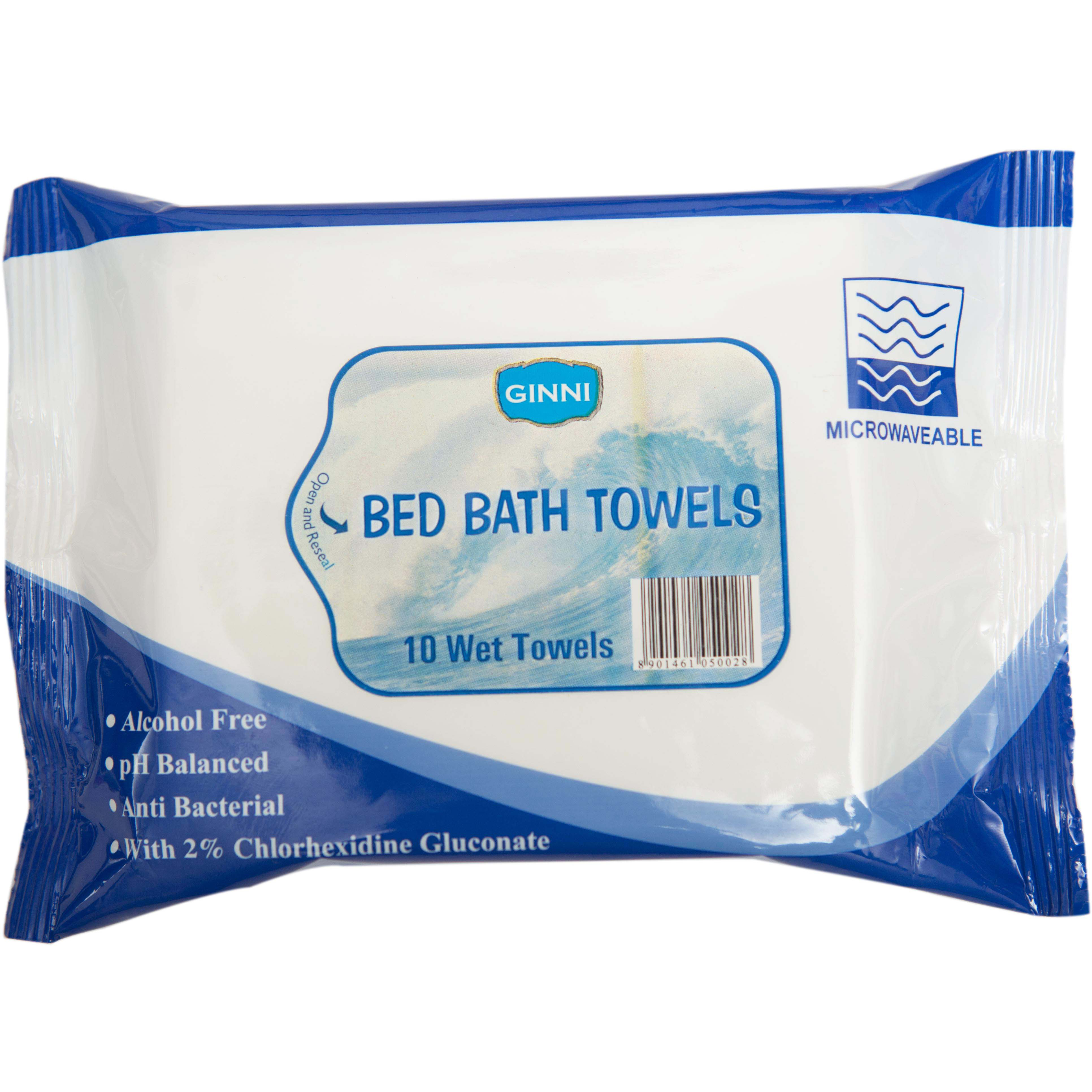 Ginni Bed Bath Towel-for sponge bath (set of 8 packets) (10 wet wipes per packet)