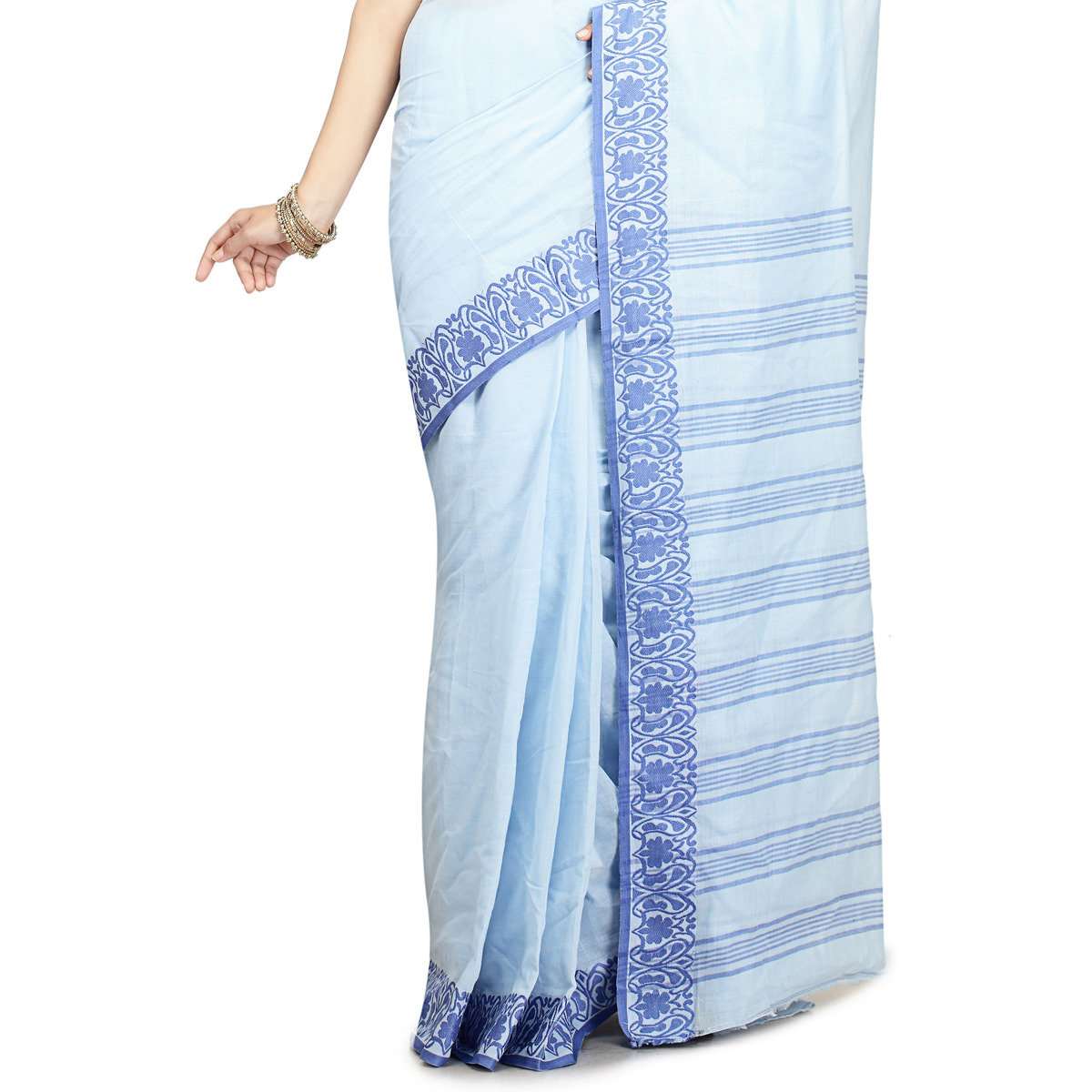Carolina Blue Cotton Woven Festival Saree
