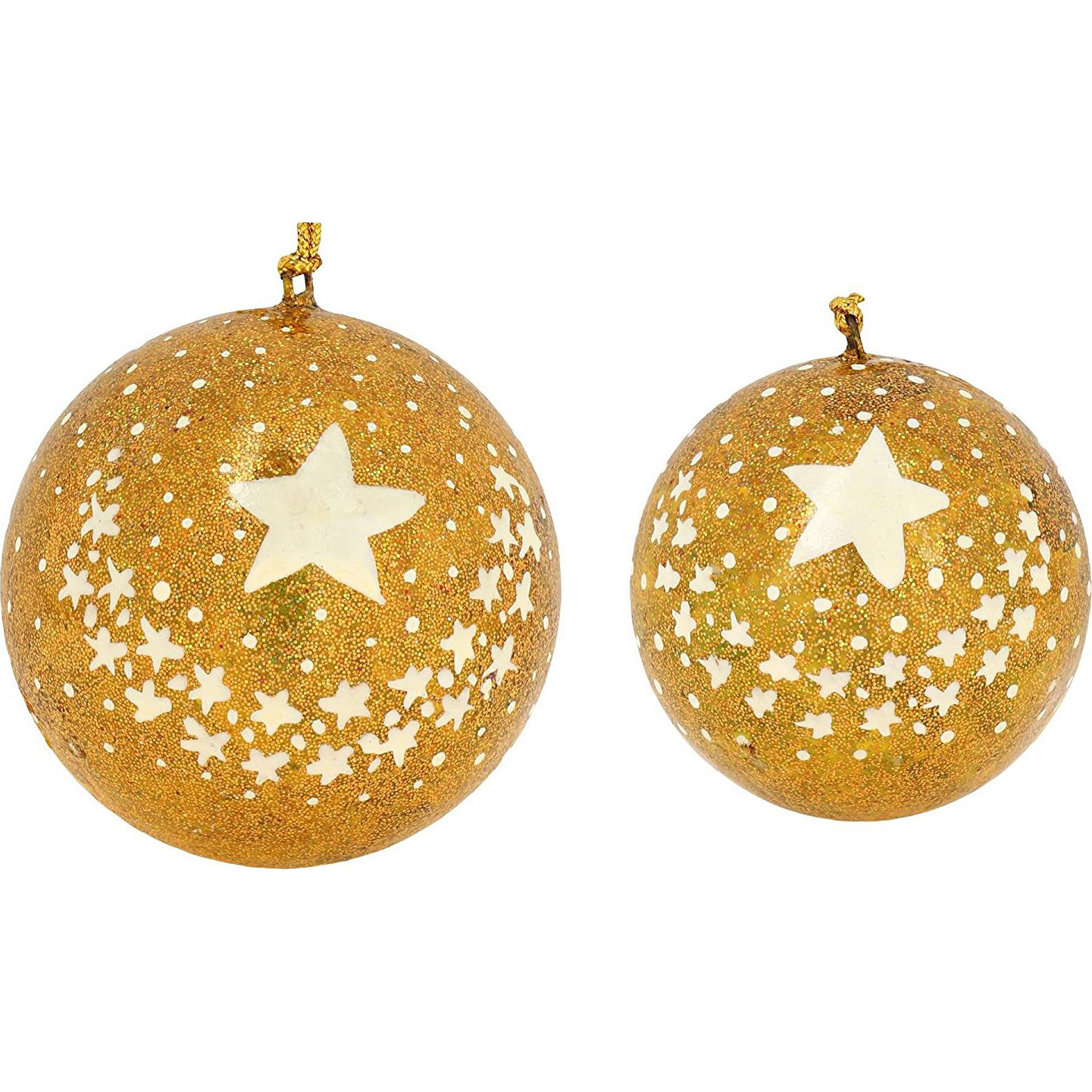 Set of 11 Gold Star Paper Mache Decorative Christmas Ornaments - Handmade Xmas Decor: Home & Kitchen