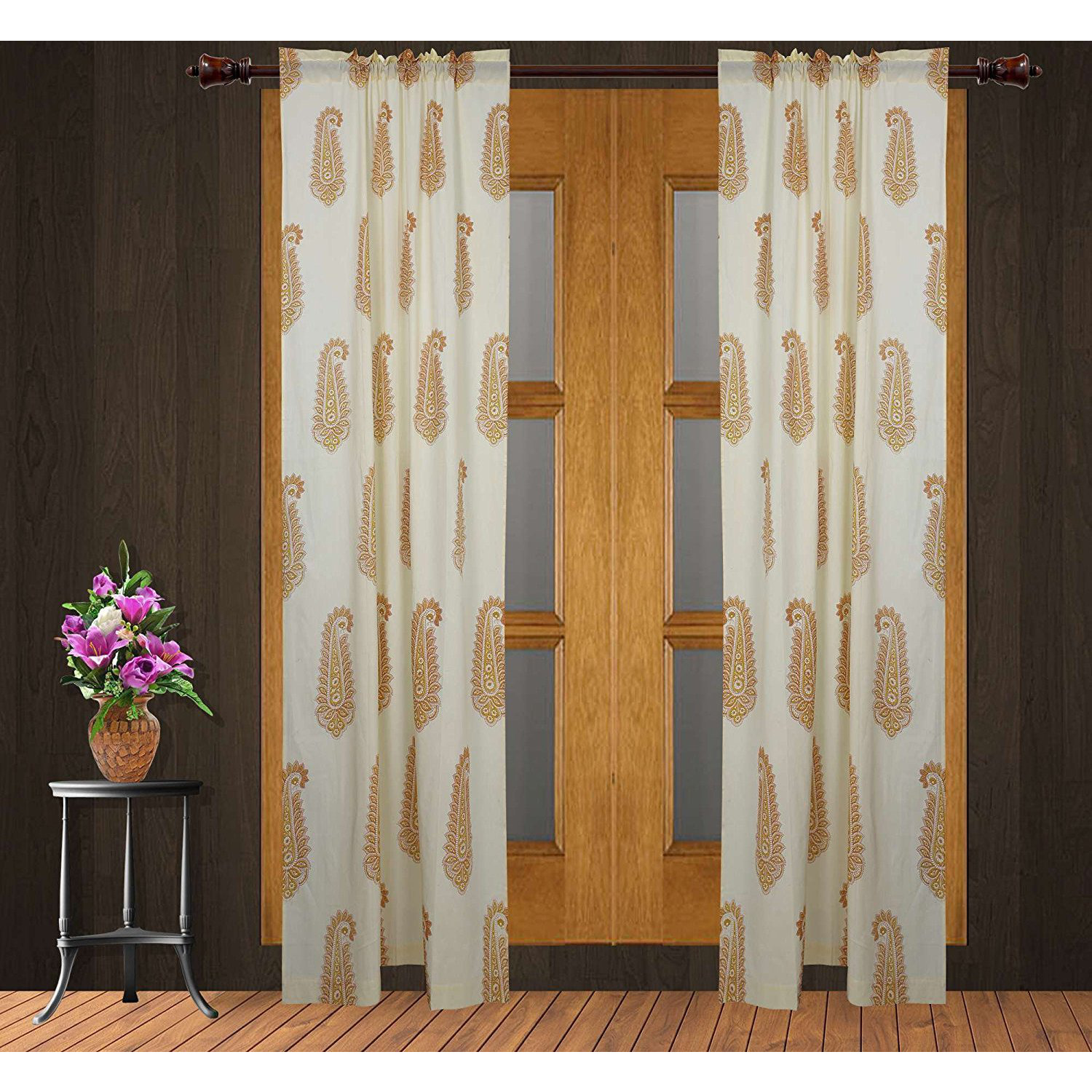 Cotton Floral Curtain Panels For Living Room Beige 84 X 40 Inch Set Of 2: Home & Kitchen