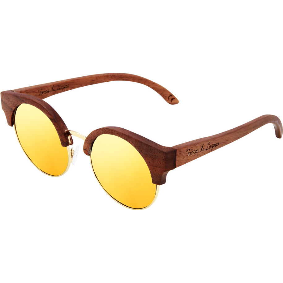 Amadore Gold Cat eyed Wooden Sunglasses
