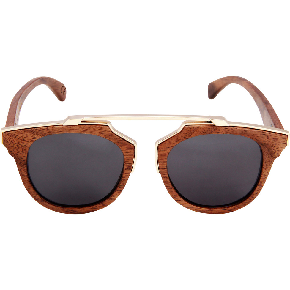 Oro Charcoal Retro Wooden Sunglasses