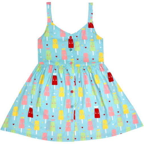 Always Kids' Blue Ice-cream Ruby Printed Dress (Size:10Y)