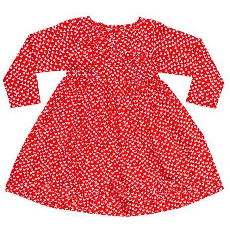 Always Kids Girl's Red Heart Harlow Printed Dress (Size:5Y)