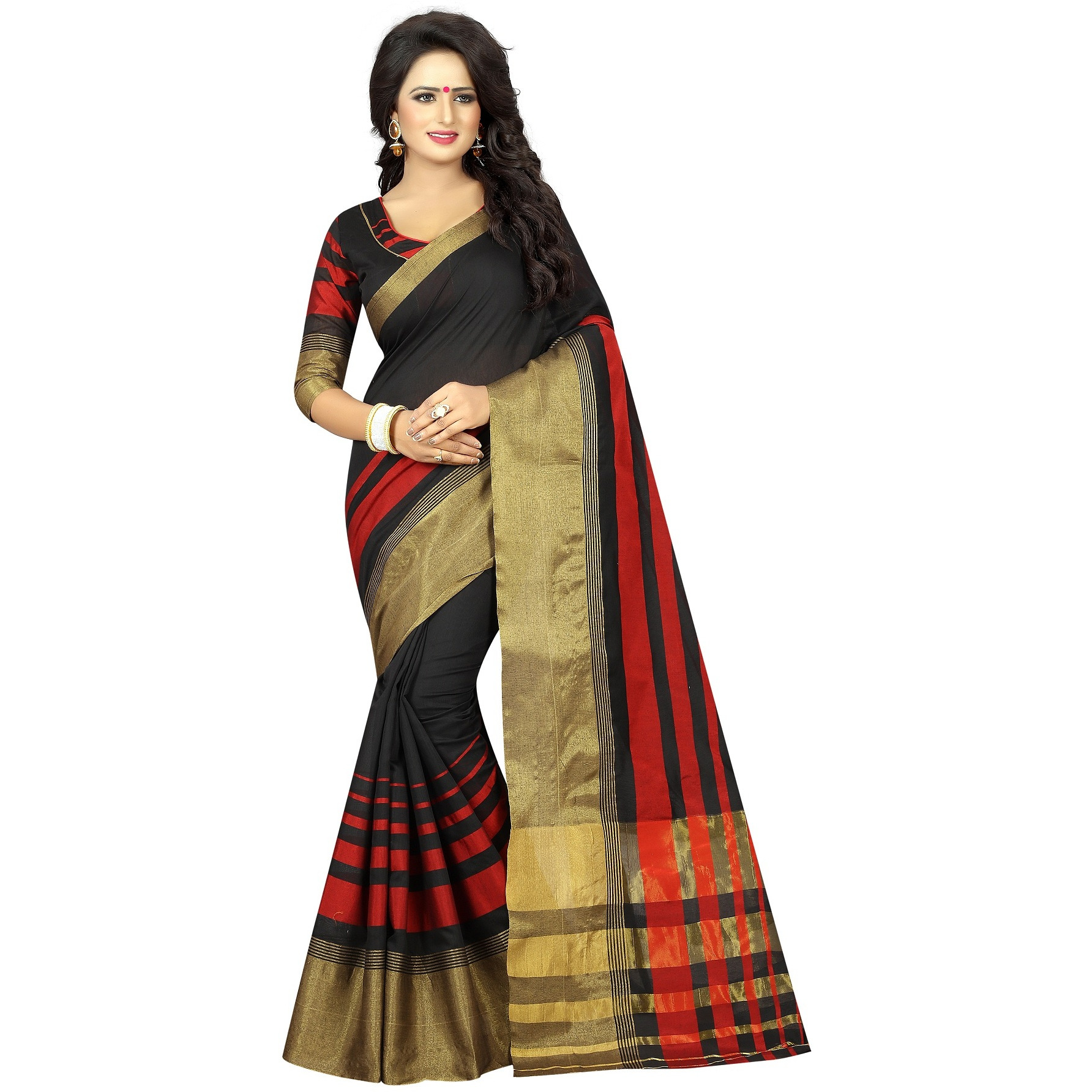 Cotton Silk Indian Ethnic Wear Designer Saree For Womens