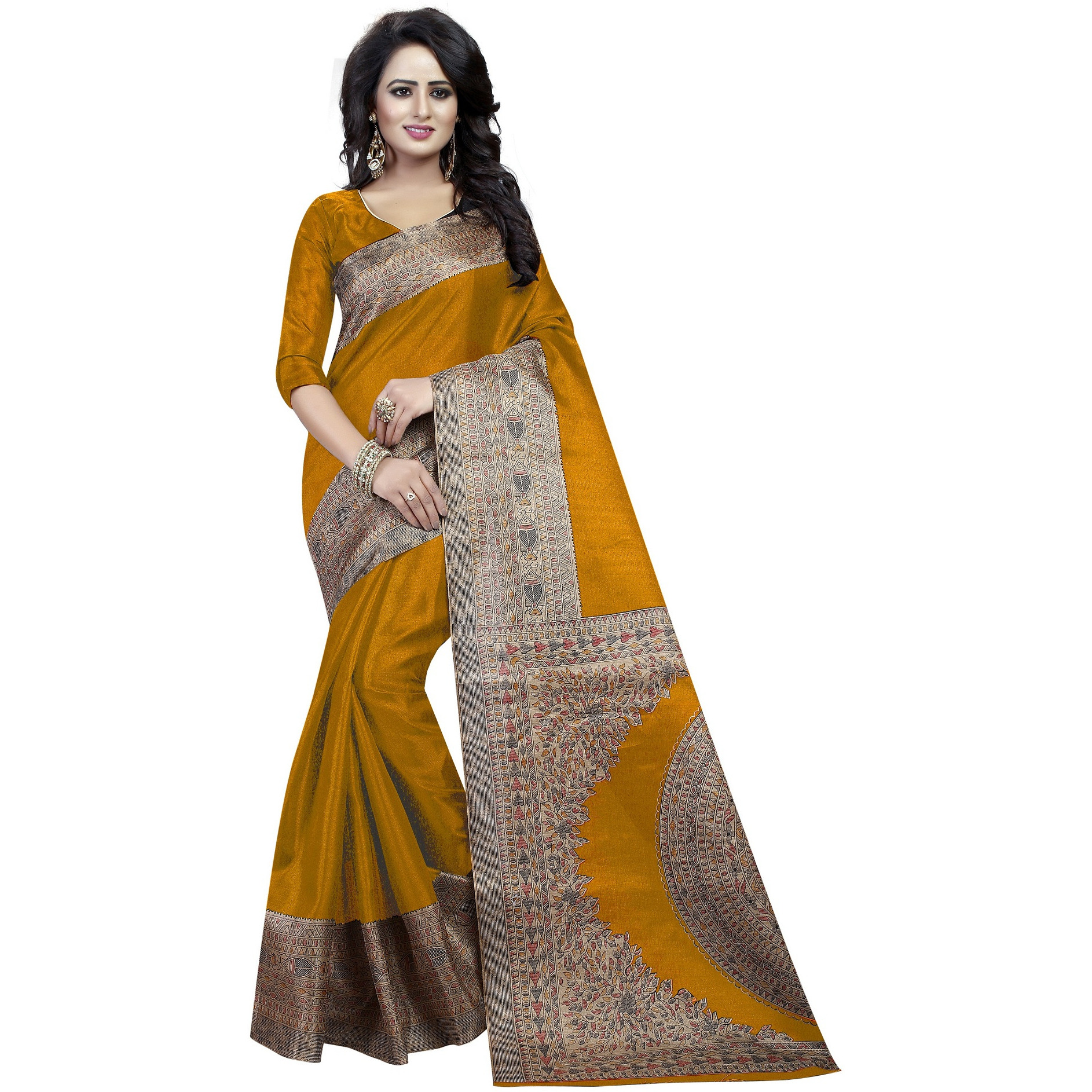 Mastani Yellow Cotton Silk   Indian Ethnic Wear Designer Sarees For Womens