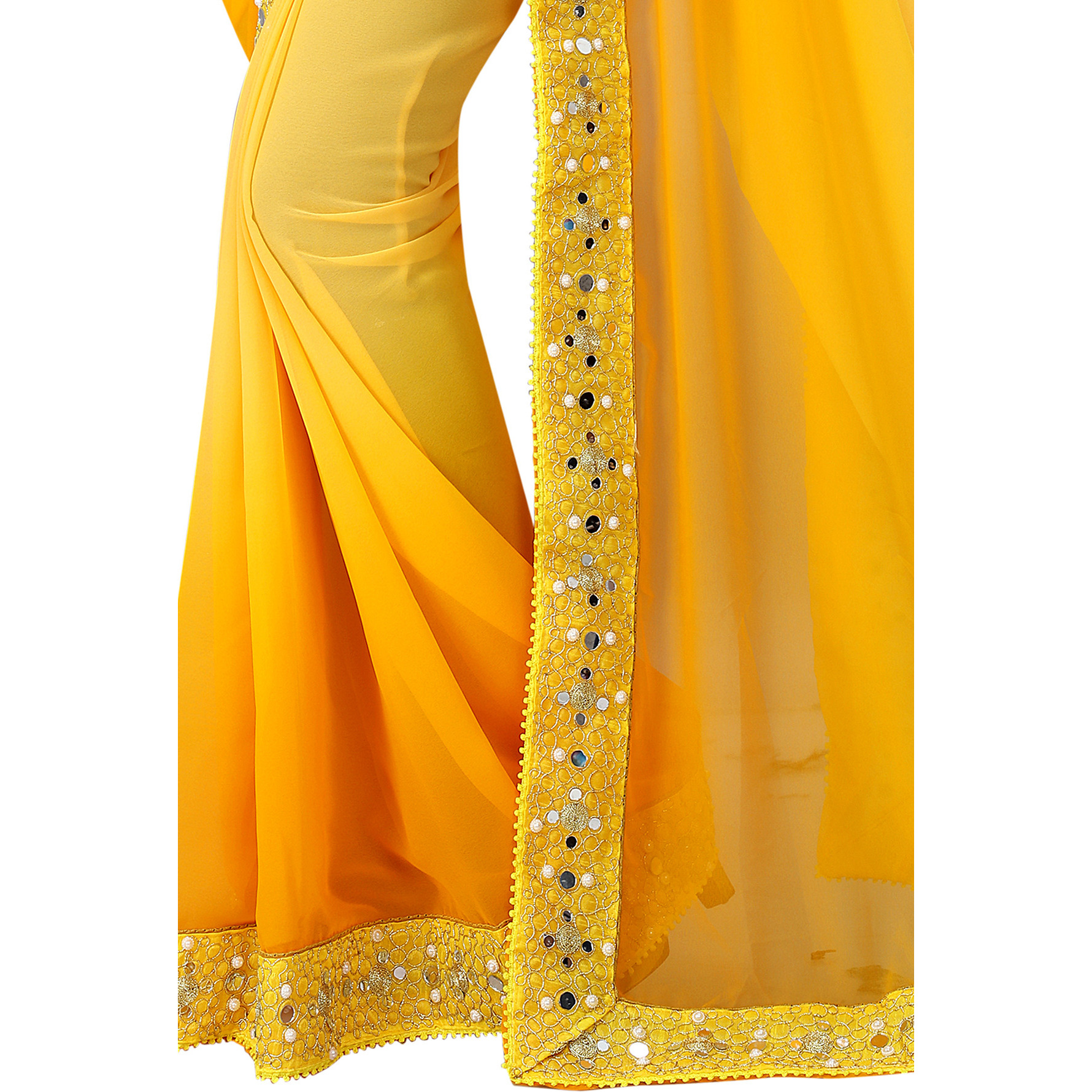 Mastani Yellow Georgette Indian Ethnic Wear Designer Sarees For Womens