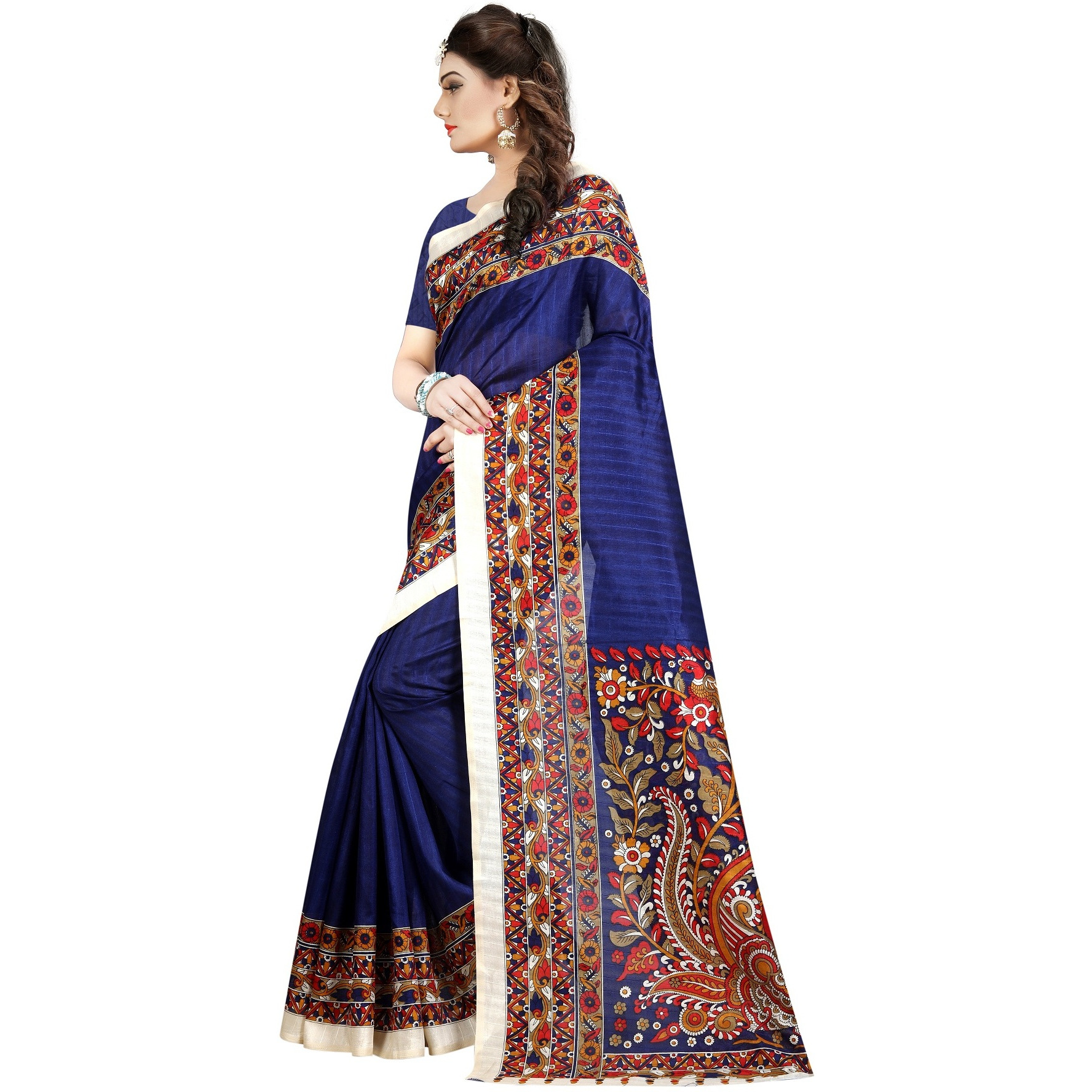 Mastani Blue Bhagalpuri Indian Ethnic Wear Designer Sarees For Womens