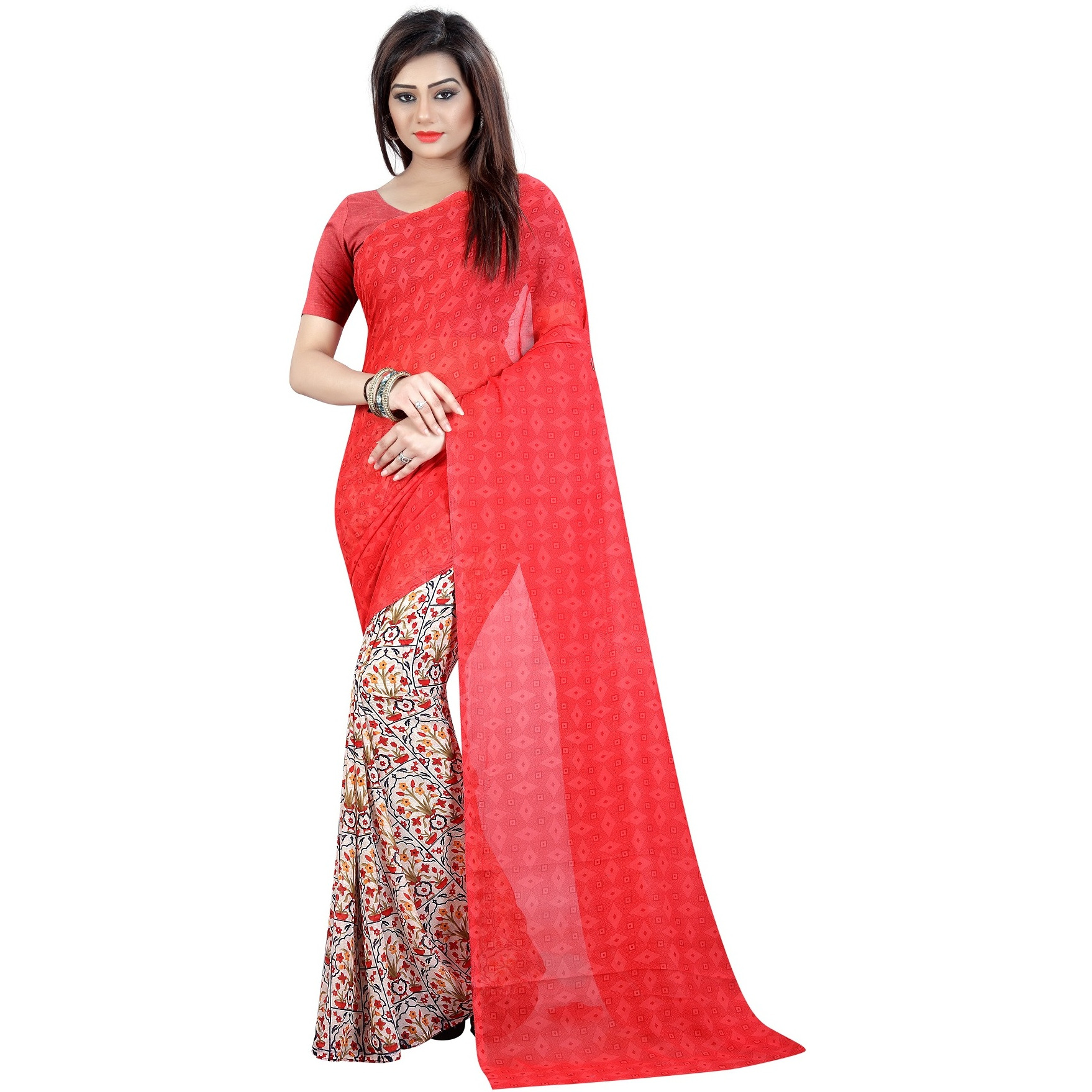 Mastani Red Georgette Indian Ethnic Wear Designer Sarees For Womens