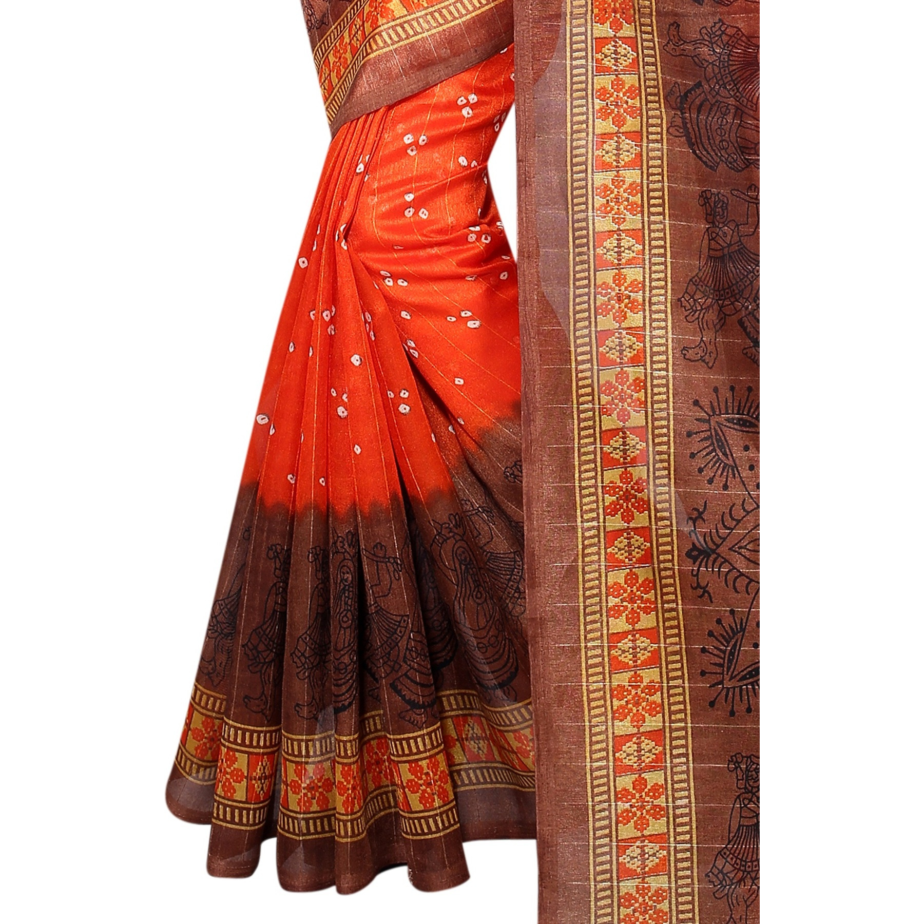 Mastani Orange Bhagalpuri Silk Sarees For Womens