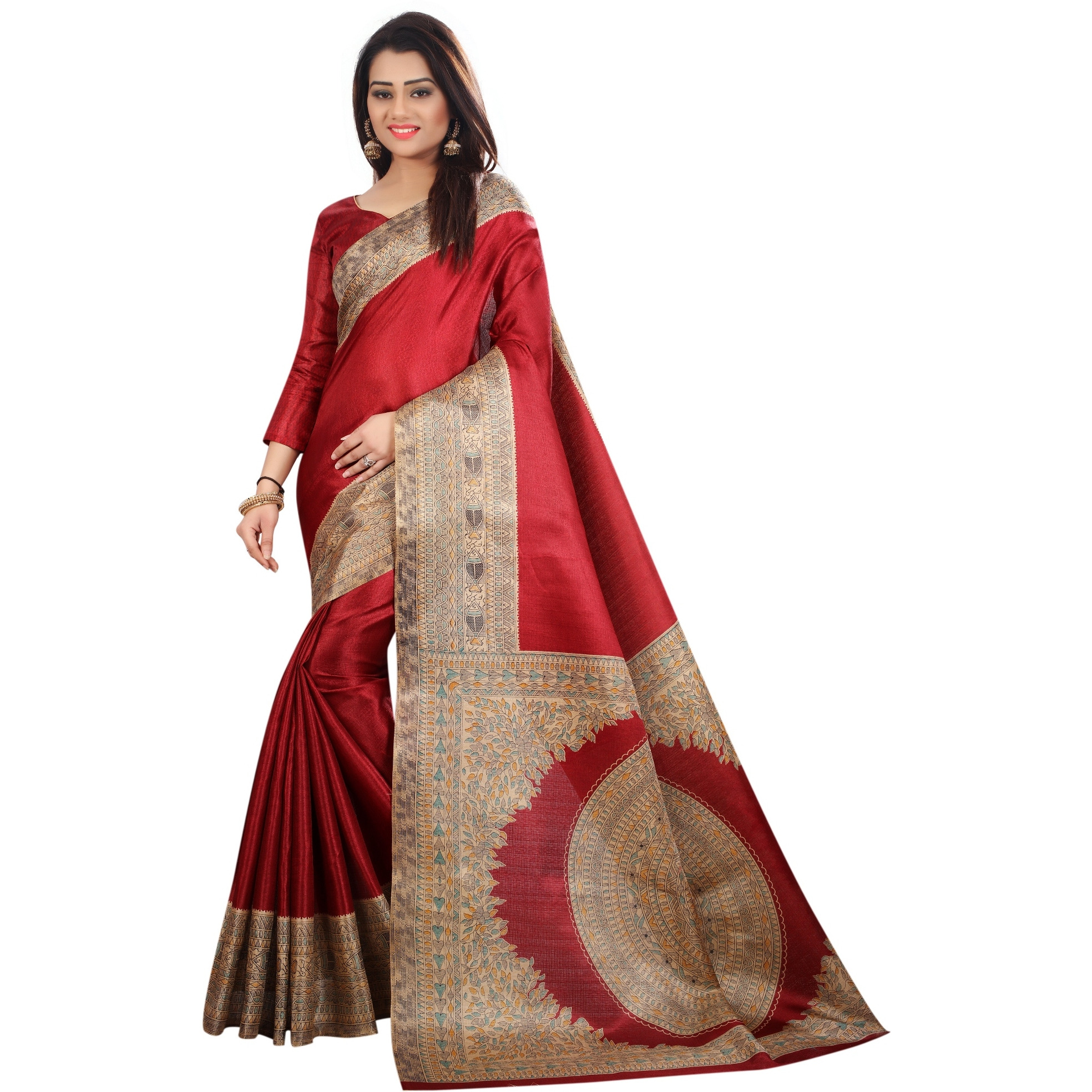 Mastani Maroon Cotton  Sarees For Womens