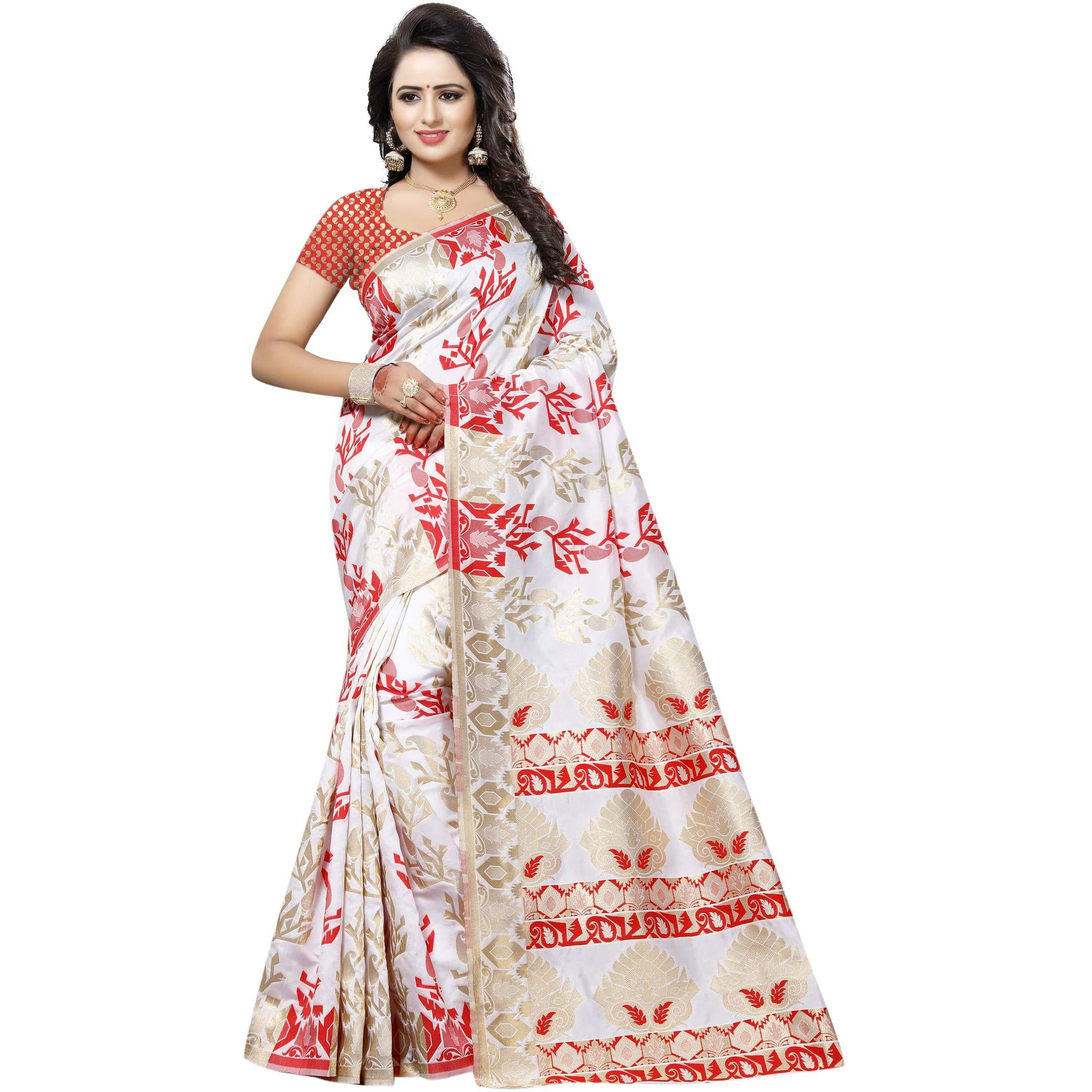 Mastani Red Jaquard Sarees For Womens