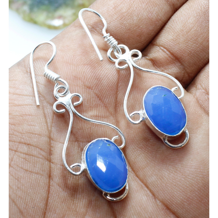 Excellent Blue Onyx Faceted .925 Sterling Silver Overlay Earring ERH_524