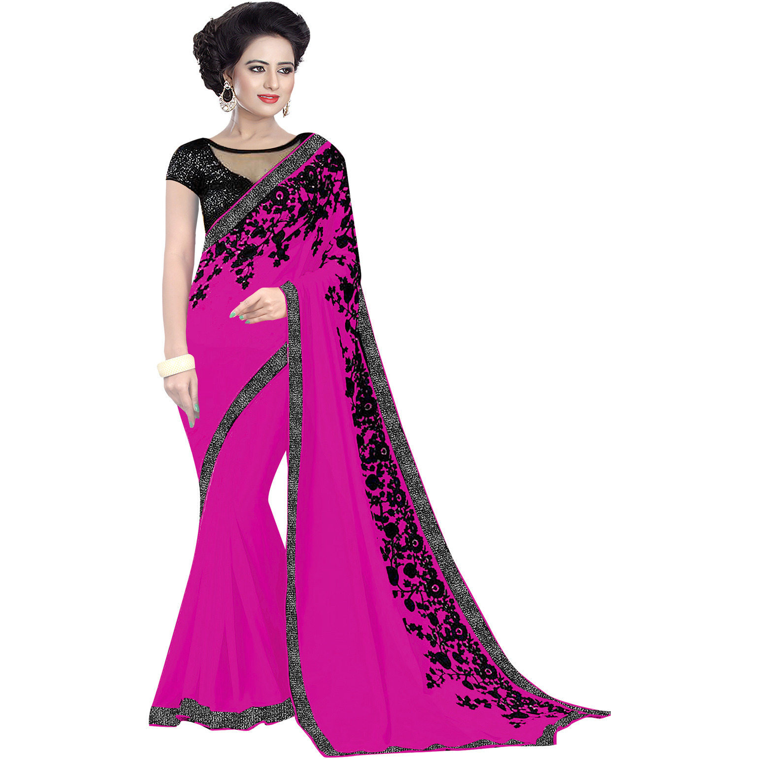 Indian Ethnic Magenta Color Embroidered Georgette Party Wear  Saree