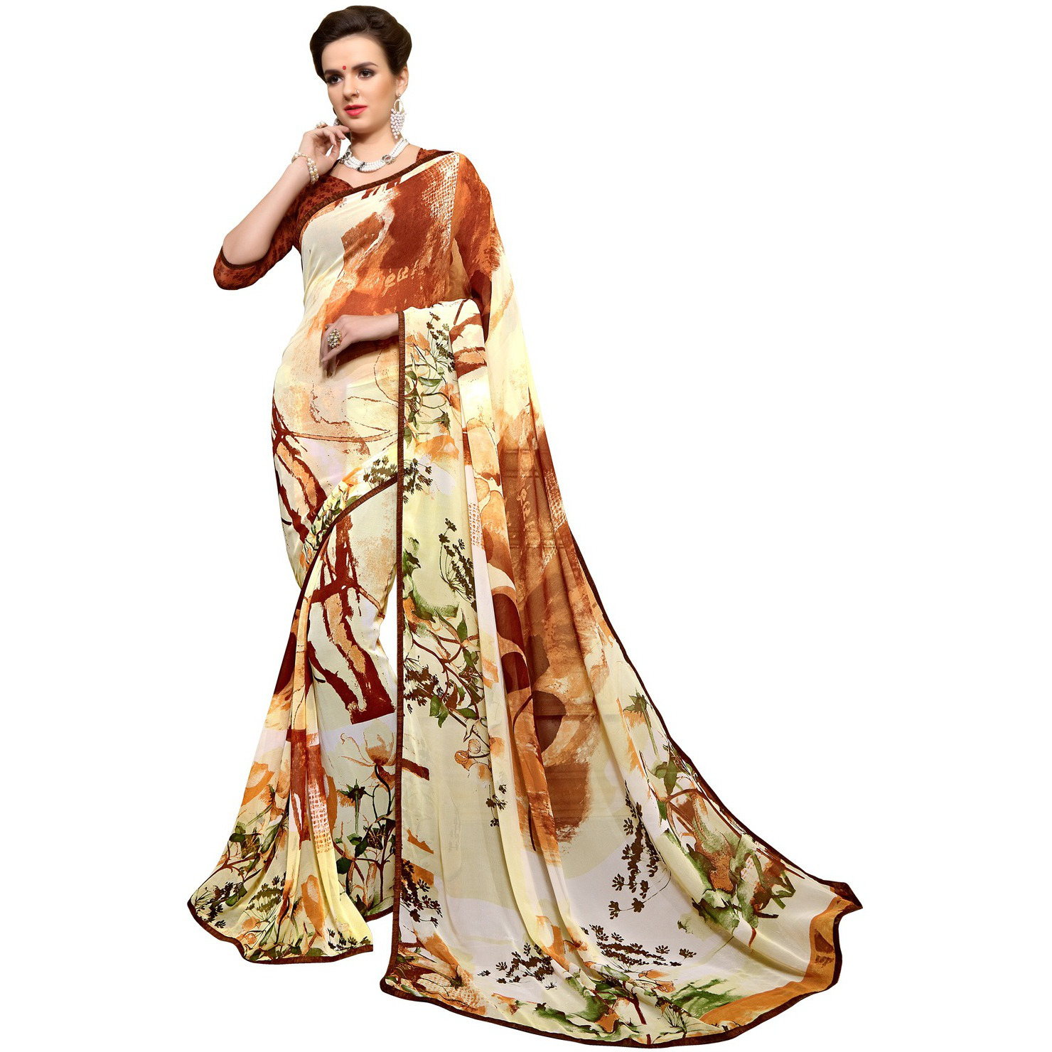Indian Ethnic Yellow Color Printed  Faux Georgette Casual Wear  Saree