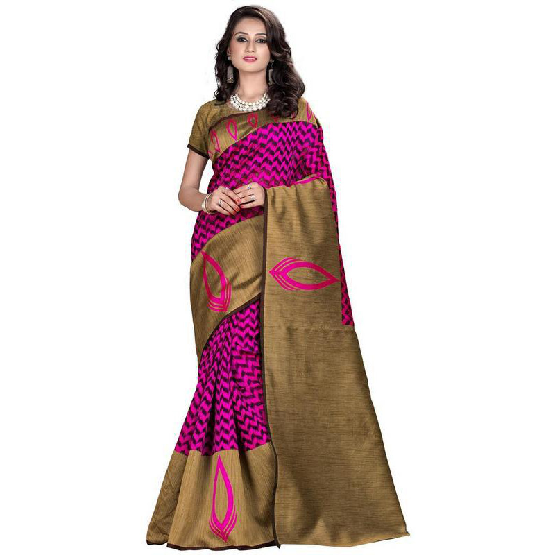 Indian Ethnic Magenta Color Jacquard Cotton Silk Party Wear  Saree