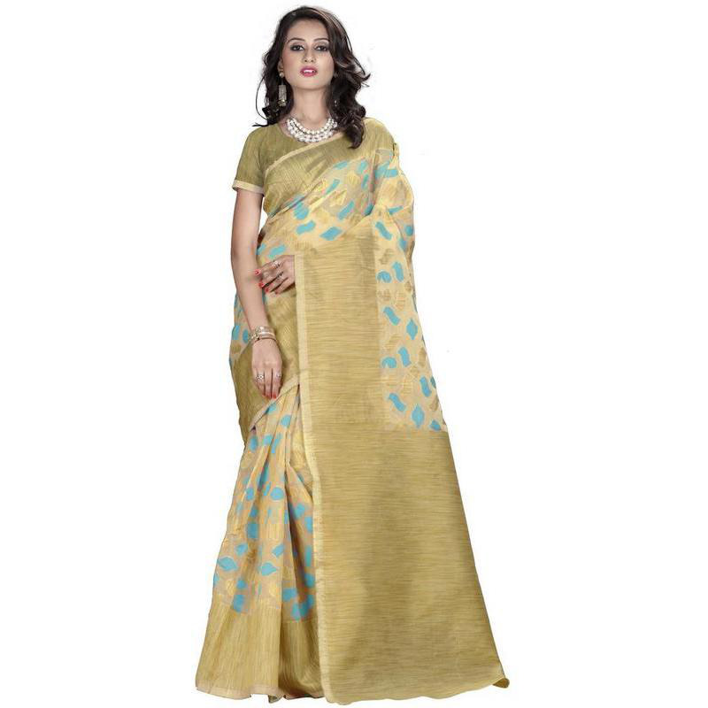 Indian Ethnic Gold Color Jacquard Cotton Silk Party Wear  Saree