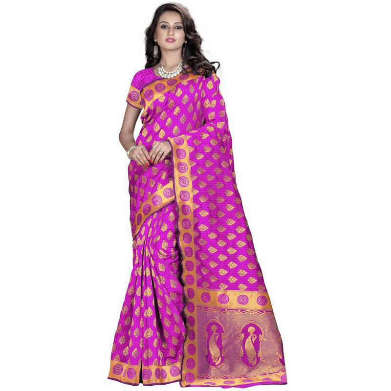 Indian Ethnic Pink Color Jacquard Cotton Silk Party Wear  Saree