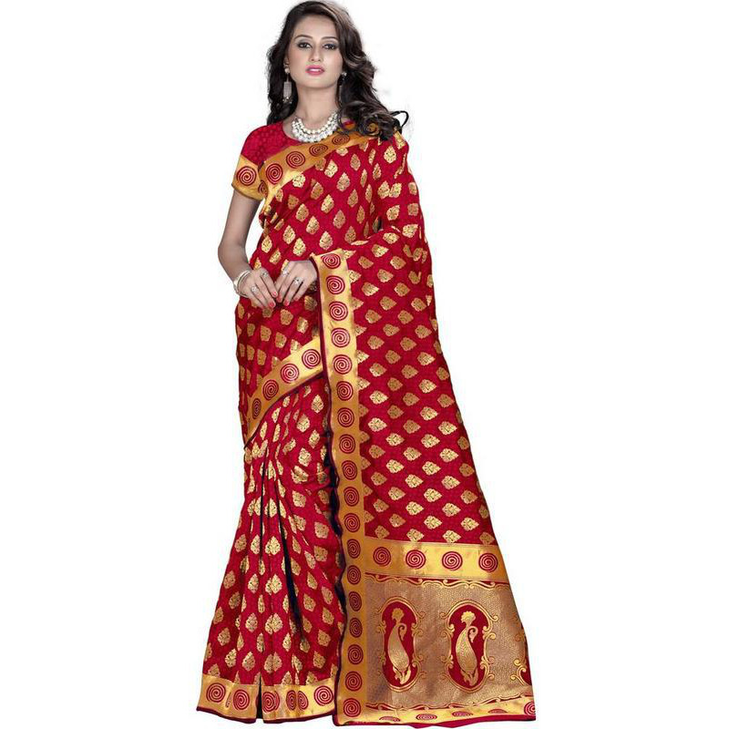 Indian Ethnic Red Color Jacquard Cotton Silk Party Wear  Saree