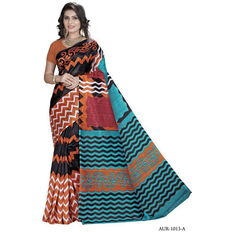 Indian Ethnic Brown Color Printed  Bhagalpuri Festive Wear  Saree