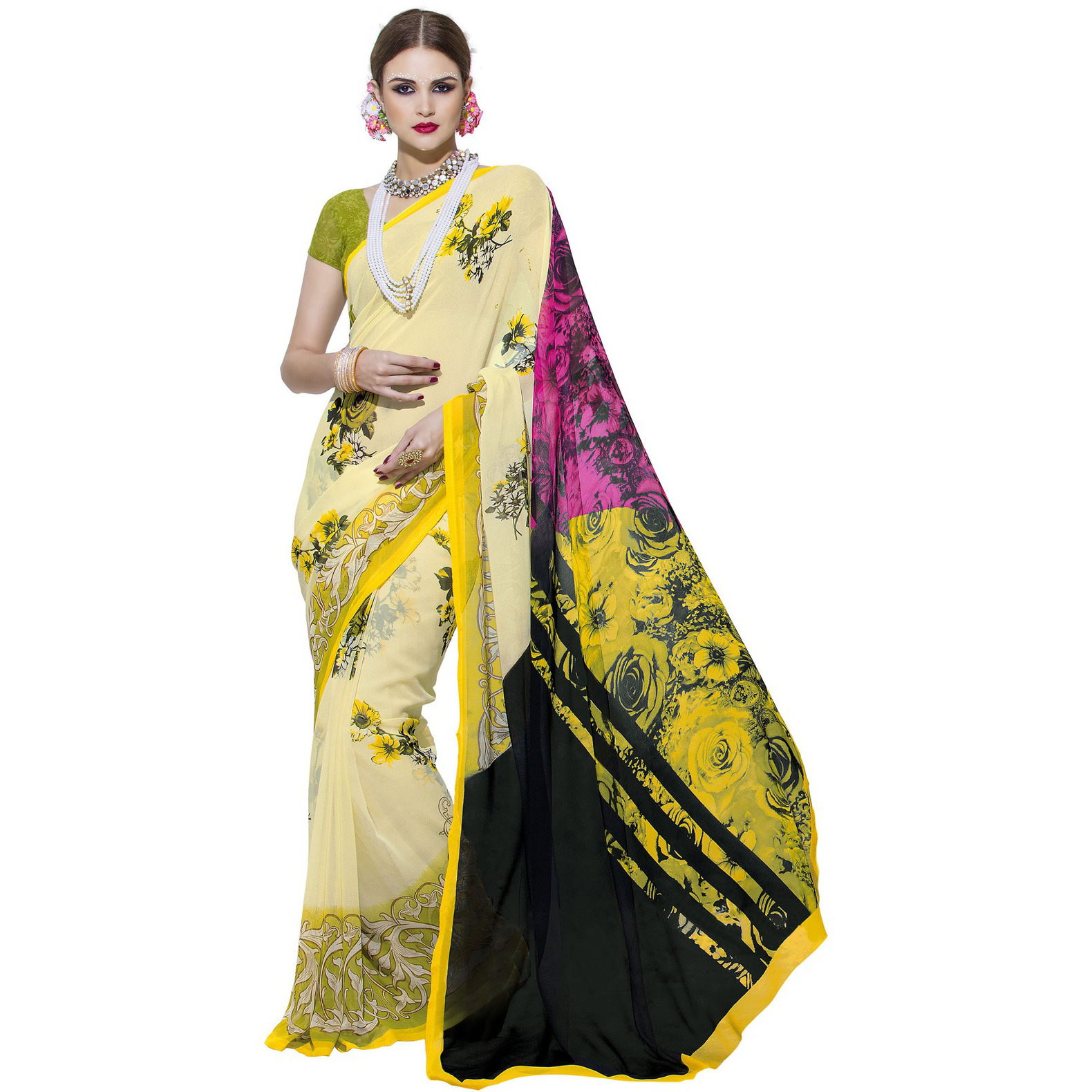Indian Ethnic Yellow Color Printed  Georgette Casual Wear  Saree