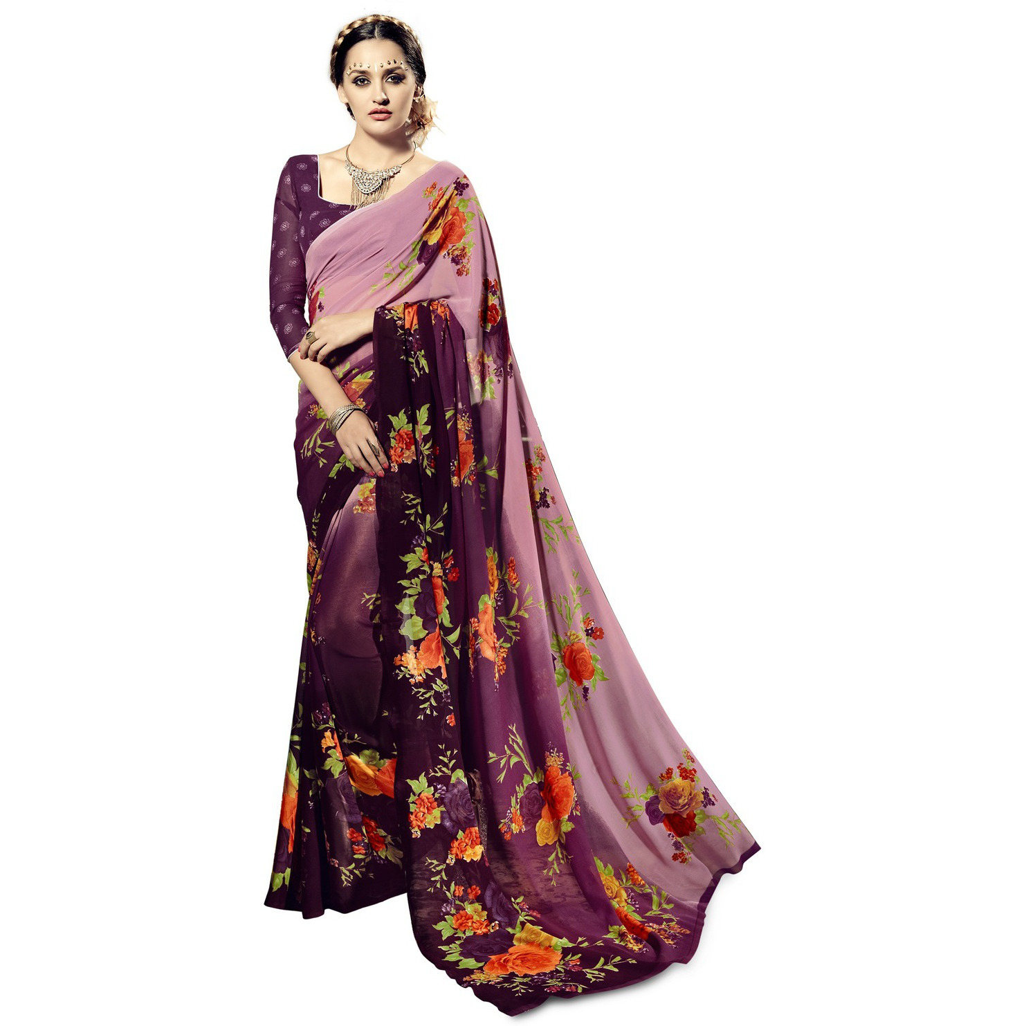 Indian Ethnic Magenta Color Printed  Georgette Casual Wear  Saree