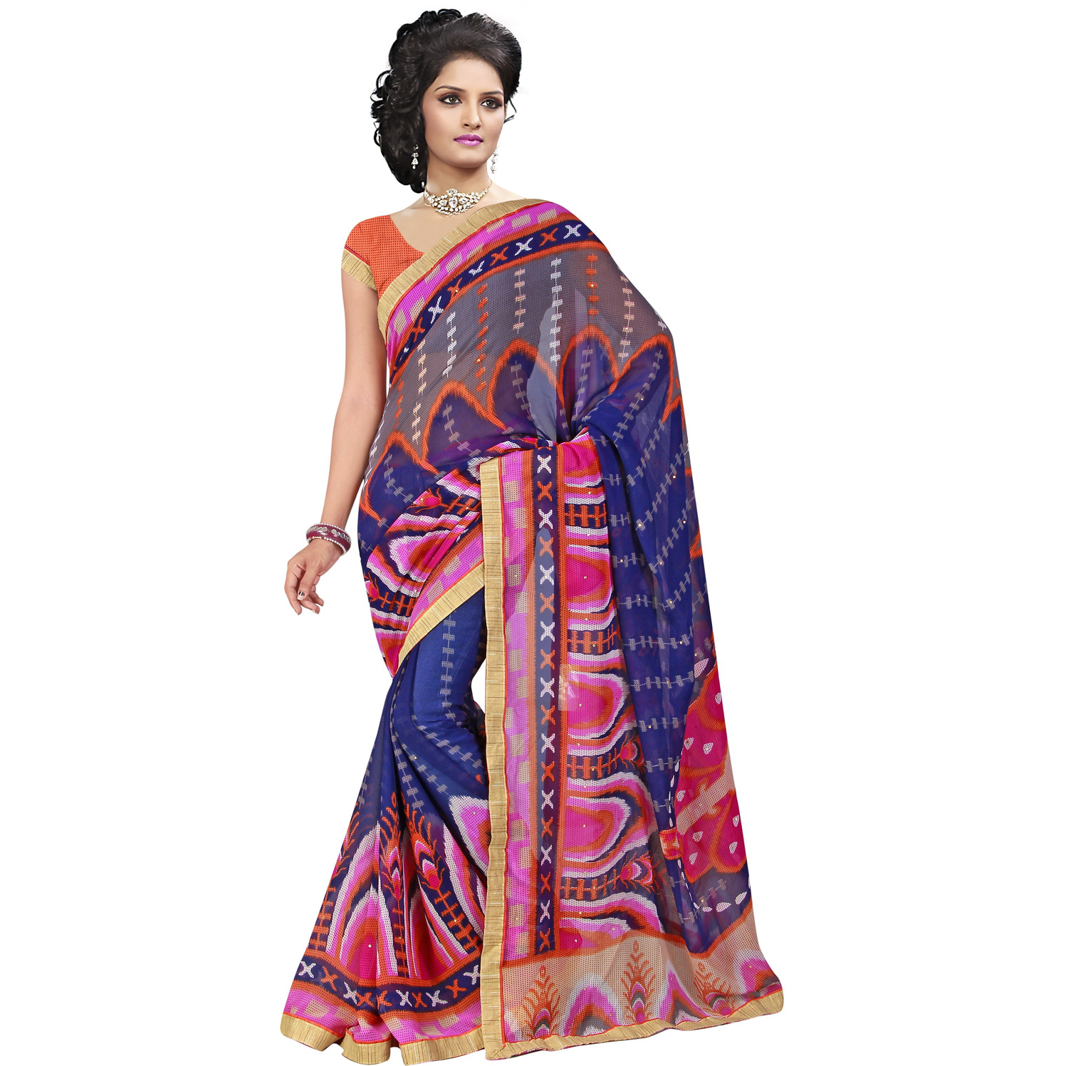 Indian Ethnic Blue Color Printed  Georgette Casual Wear  Saree