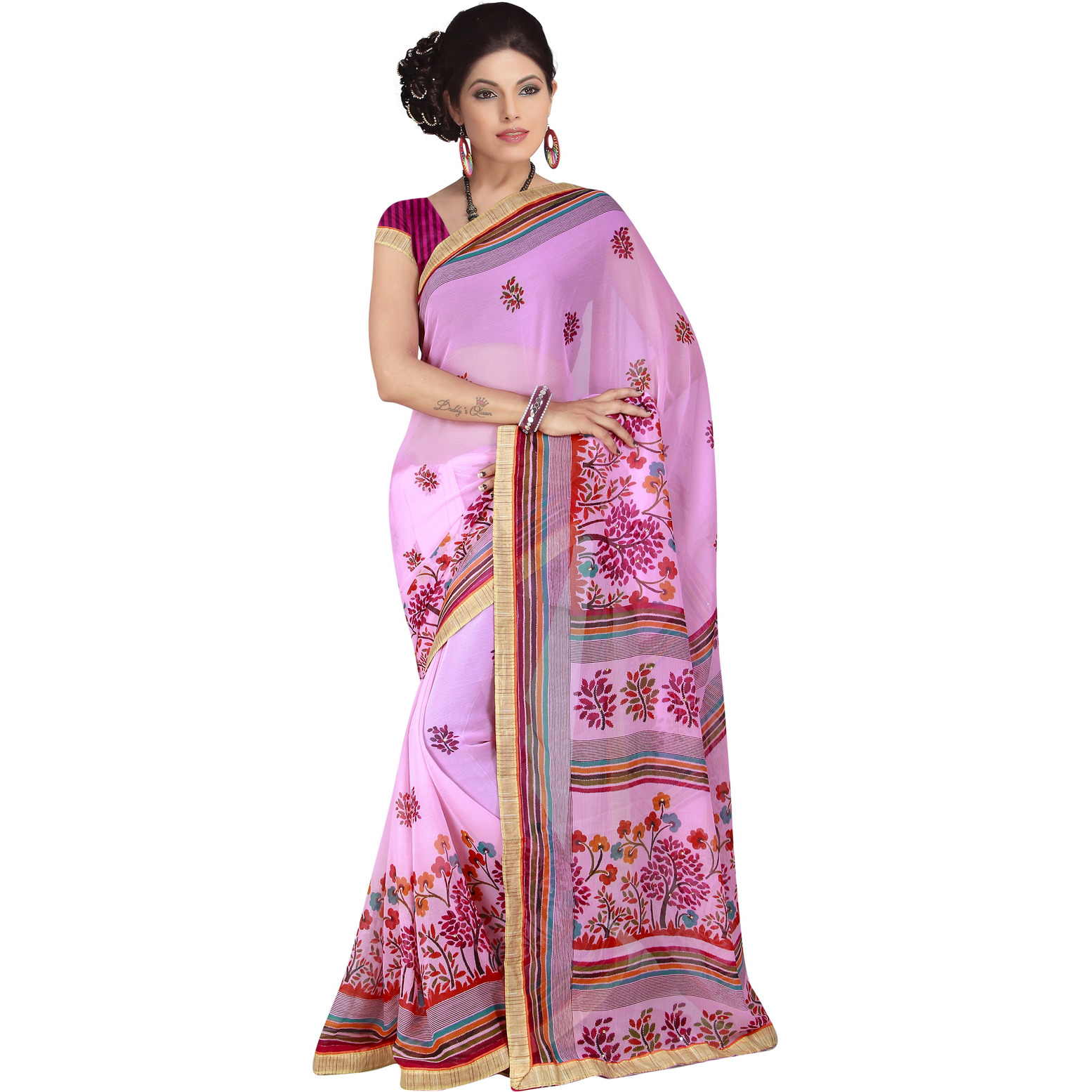 Indian Ethnic Pink Color Printed  Georgette Casual Wear  Saree