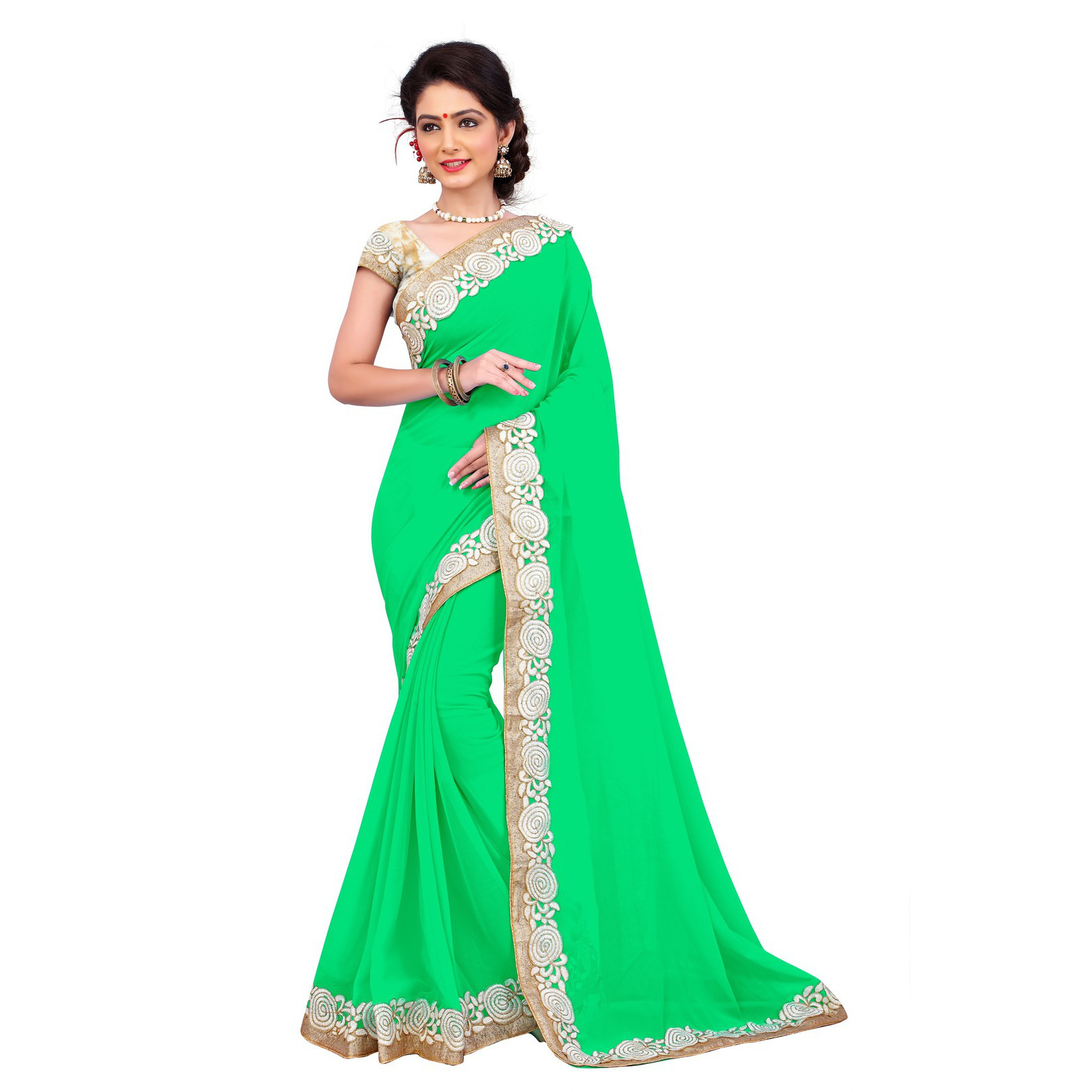Indian Ethnic Green Color Embroidered Georgette Festive Wear  Saree
