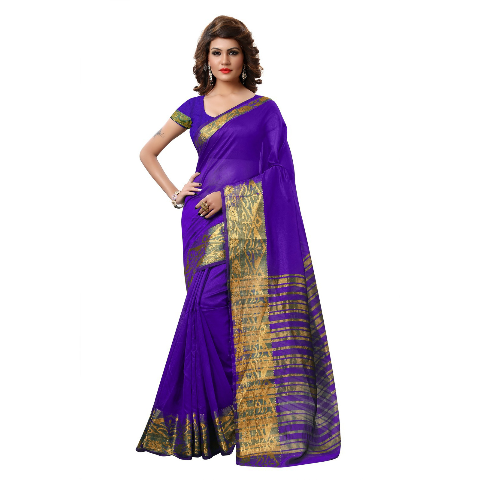 Indian Ethnic Blue Color Jacquard Tissue Festive Wear  Saree