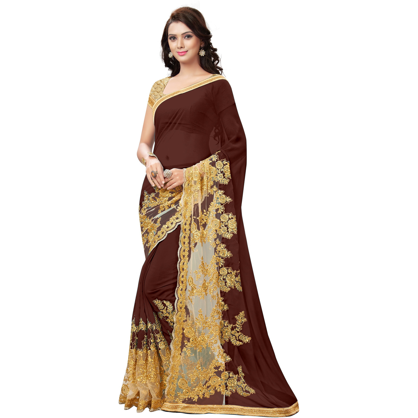 Indian Ethnic Brown Color Embroidered Georgette Party Wear  Saree