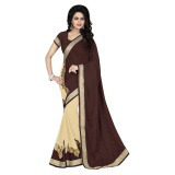 Indian Ethnic Brown Color Embroidered Faux Georgette Party Wear  Saree