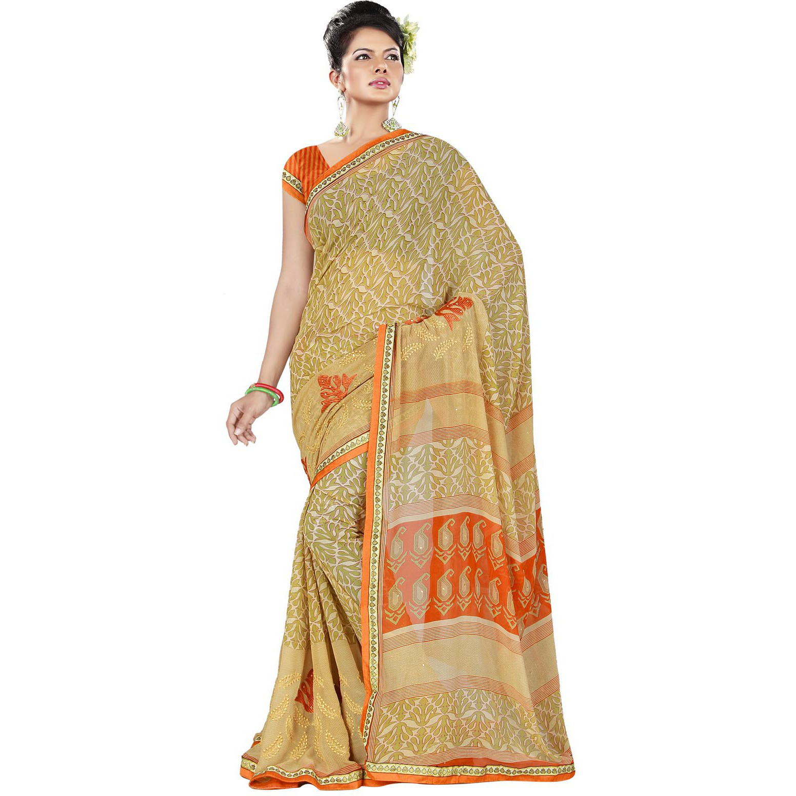 Indian Ethnic Green Color Printed   With EmbroideryGeorgette Casual Wear  Saree