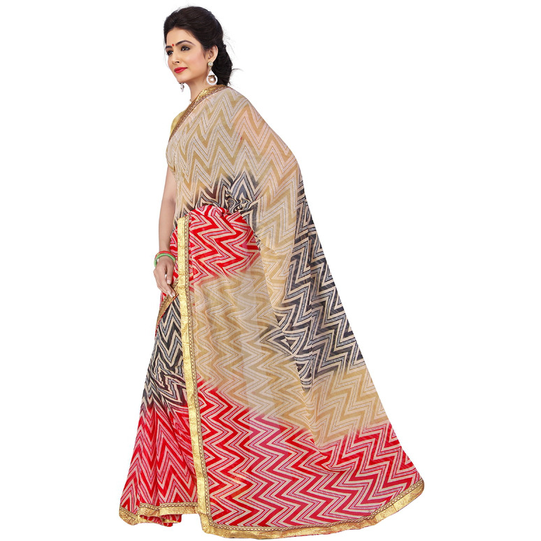 Indian Ethnic Black Color Printed  Georgette Casual Wear  Saree