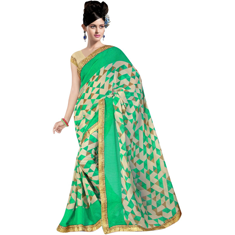 Indian Ethnic Green Color Printed  Georgette Casual Wear  Saree