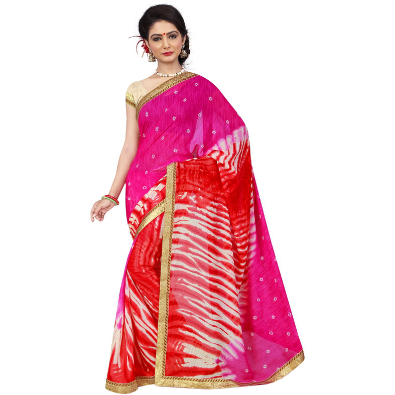 Indian Ethnic Red Color Printed  Georgette Casual Wear  Saree