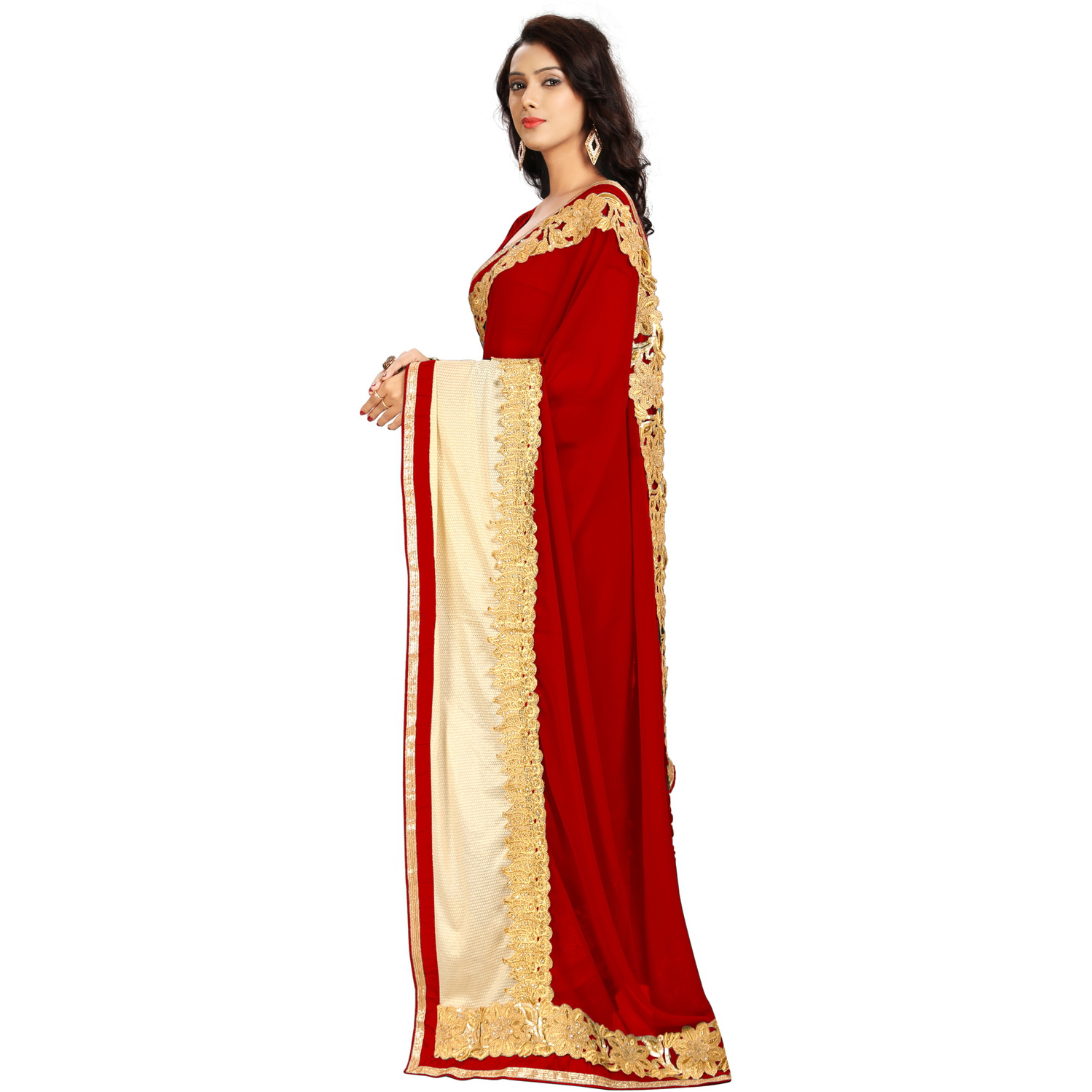 Indian Ethnic Maroon Color Embroidered Georgette Party Wear  Saree