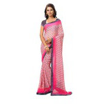 Indian Ethnic Pink Color Printed  Faux Georgette Casual Wear  Saree