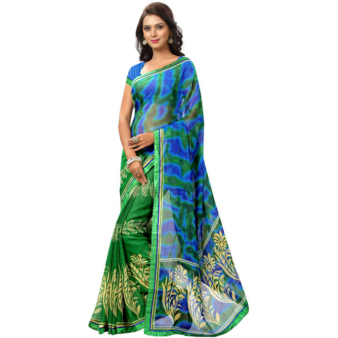 Indian Ethnic Green Color Printed  Faux Georgette Casual Wear  Saree