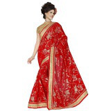 Indian Ethnic Red Color Embroidered Faux Georgette Party Wear  Saree