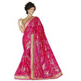 Indian Ethnic Pink Color Embroidered Faux Georgette Party Wear  Saree