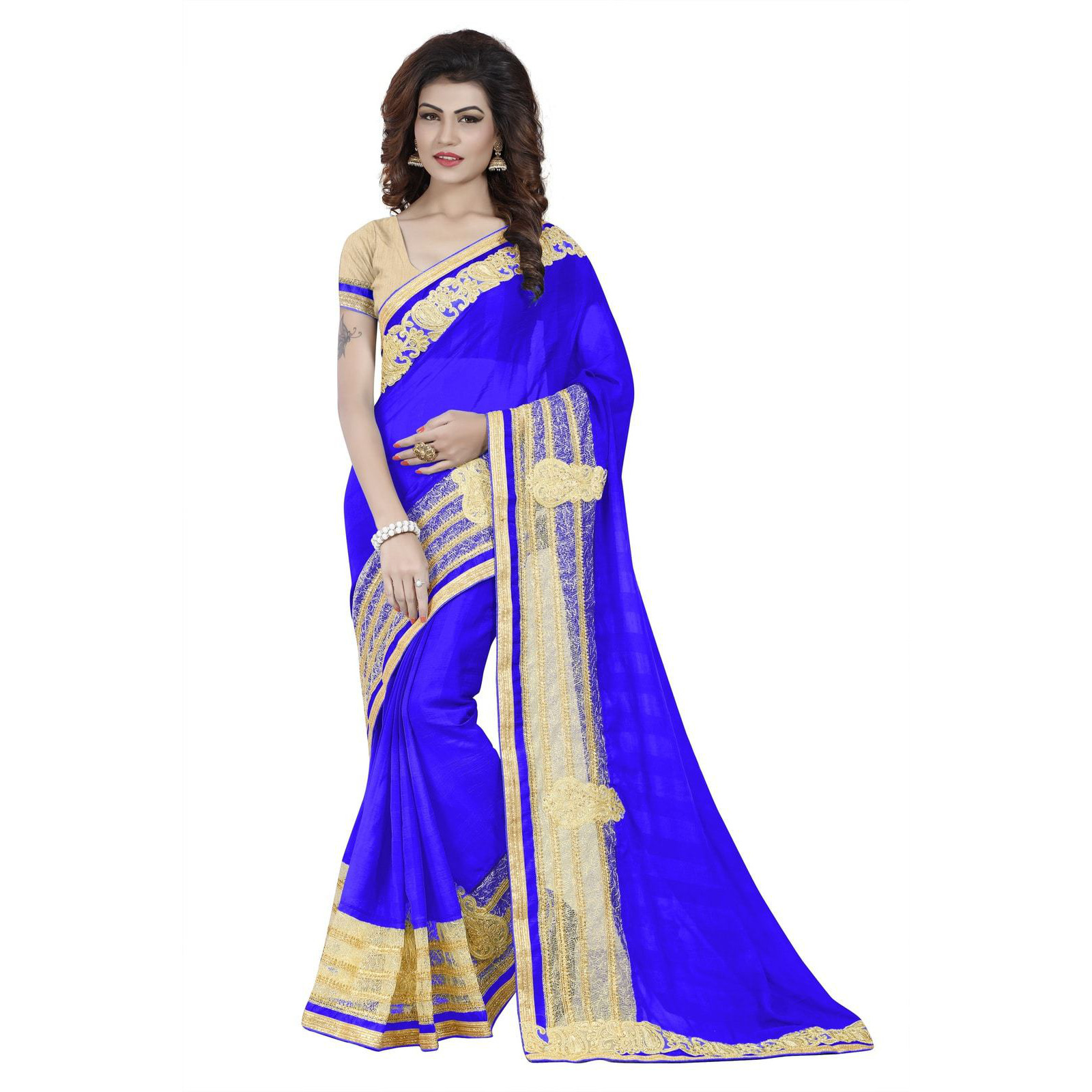 Indian Ethnic Blue Color Embroidered Georgette Party Wear  Saree
